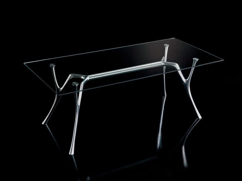 tabelle aluminium design mit transparentem glas idfdesign. Black Bedroom Furniture Sets. Home Design Ideas