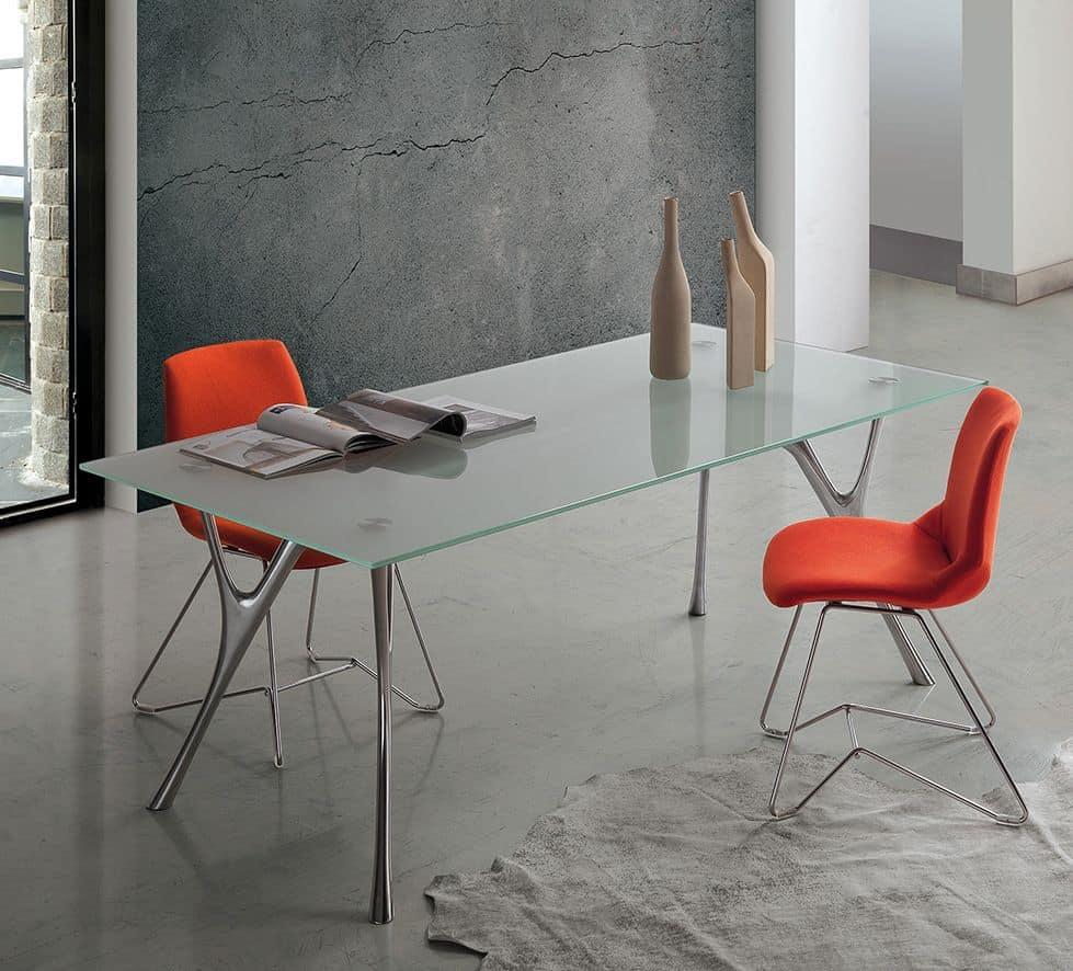 Pegaso 2, Tabelle Aluminium-Design mit transparentem Glas