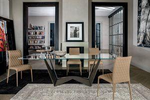REVERSE, Tisch mit Struktur aus lackiertem Stahl, Glas oder Keramik