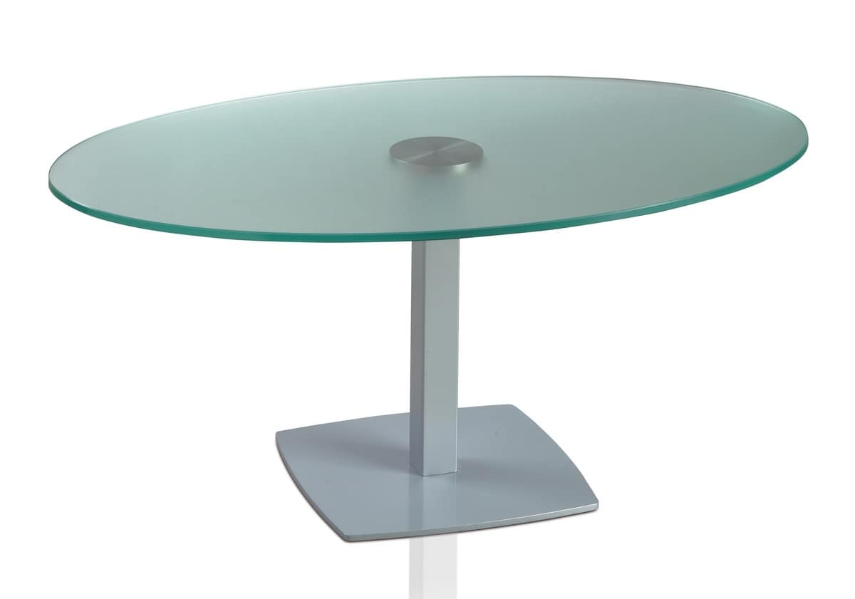 Ovalen Tisch mit Metallsockel und Glasplatte  IDFdesign