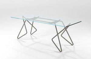 Vittoria, Rechteckiger Tisch aus Chrom Rohr mit Glasplatte
