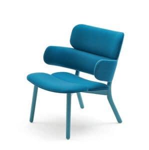 Bands Lounge-Sessel, Design Stuhl mit großem Sitz, gepolstert in Leder