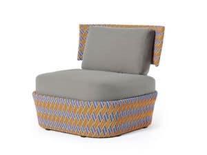 Kente lounge, Lounge-Sessel, mit mehrfarbigen Weben, für den Außenbereich