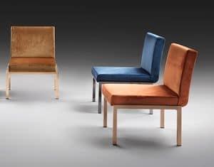 Modà, Gepolsterter Stuhl mit breiten Sitz, Stahlbasis