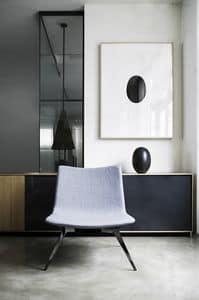 Sotai, Stuhl mit großem Sitz aus Polyurethan mit Stahlfuß