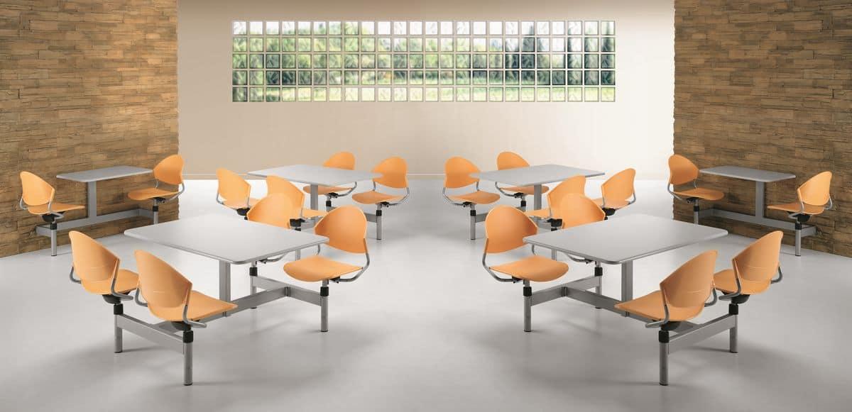 Monoblock-Tisch mit vier Drehstühle für Kantinen | IDFdesign