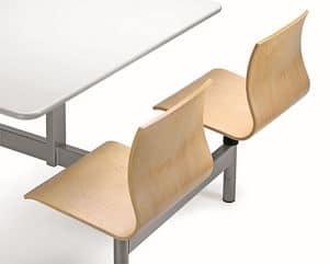 WEBWOOD W860, Monoblock-Tisch mit 4 Stühlen in Sperrholz, für Kantinen