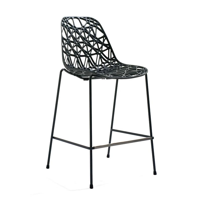 Barhocker aus metall kunststoffgitter schale outdoor for Barhocker outdoor