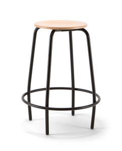 Mea Wood 04, Fester Hocker mit Holzsitz