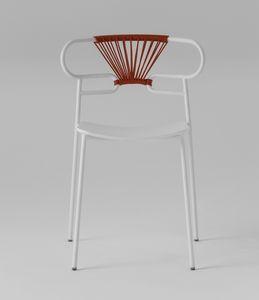 ART. 0047-MET-CROSS-PU GENOA, Metallstuhl, mit Rücken mit Seil verziert