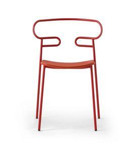 ART. 0047-MET-PU GENOA, Stapelbarer Stuhl aus lackiertem Metall