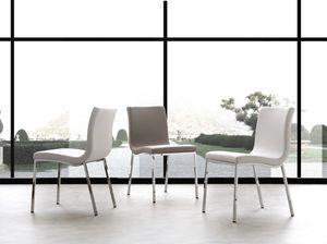 Art. 209 Onda, Stuhl aus Metall, aus weichem Leder gepolstert