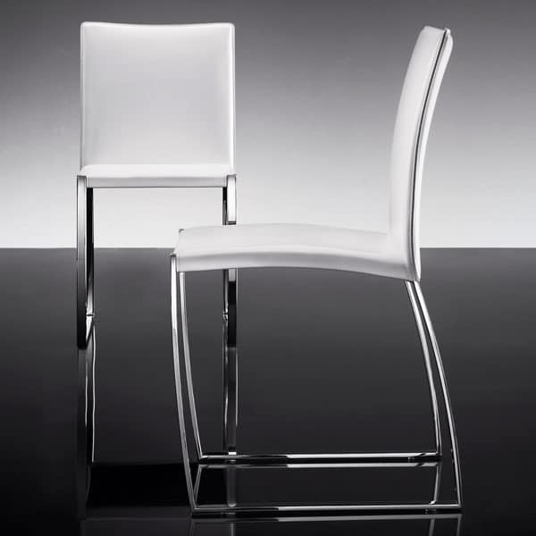 ART. 251 DIAMOND CHAIR, Eleganter Stuhl in Leder, Metallsockel gepolstert