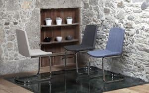 Aster, Metallstuhl mit gepolsterten Körper und Stoffbespannung