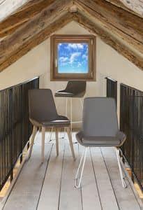 Baxi, Stuhl mit Sitz und Rückenlehne mit Leder bezogen, modernes Design