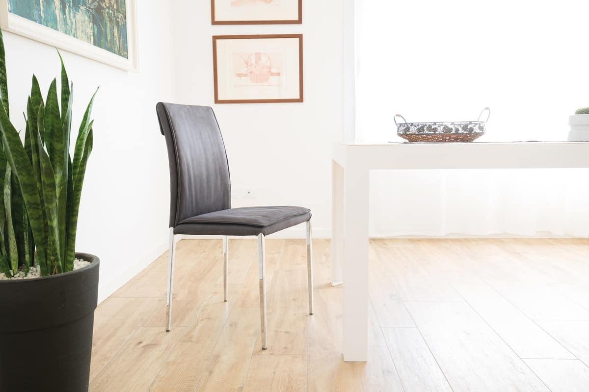 Moderne Sessel mit verchromtem Metall für Bars geeignet , Stühle mit ...