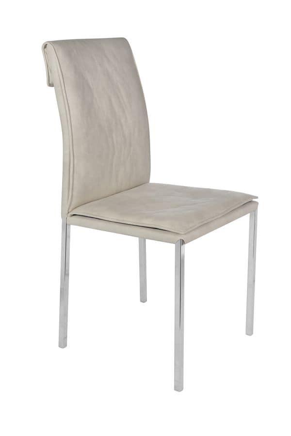 Stuhl mit verchromtem metallbeine und gepolsterte for Stuhl metallbeine