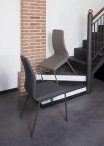 Jacky, Stuhl mit Metallrahmen, bedeckt mit beschichtetem Gewebe