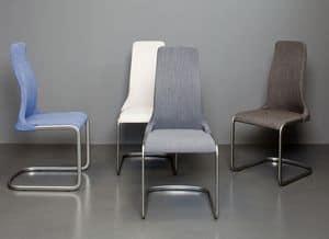 Mery, Stuhl mit Kufen und gepolstertem Sitz, fabirc Belag