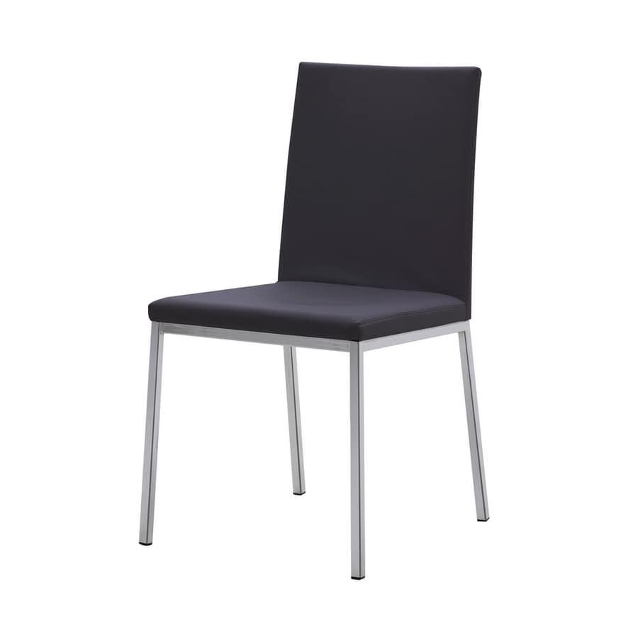 moderner stuhl aus stahl sitz und r ckenlehne mit leder bezogen idfdesign. Black Bedroom Furniture Sets. Home Design Ideas