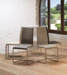 Paola, Stuhl mit Kufen, gepolsterter Sitz und Lederbezug