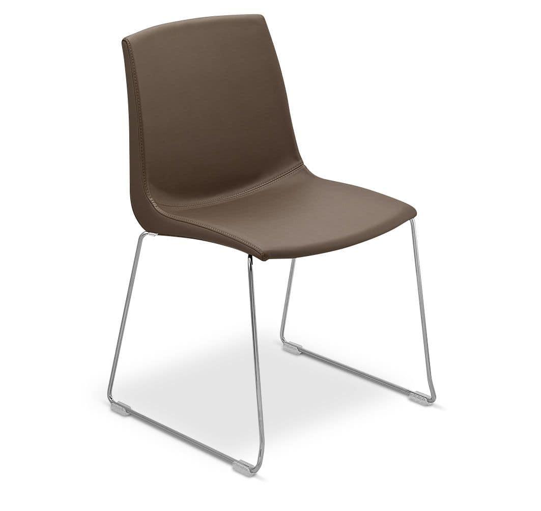 Stuhl Mit Kufen Aus Metall Gepolstert F R Den