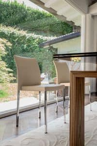 STELLA, Verchromtem Metallstuhl, mit Gummi gepolstert, für Restaurants