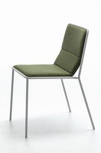 Tres, Moderne Stuhl aus Metall mit gepolstertem Sitz, Licht