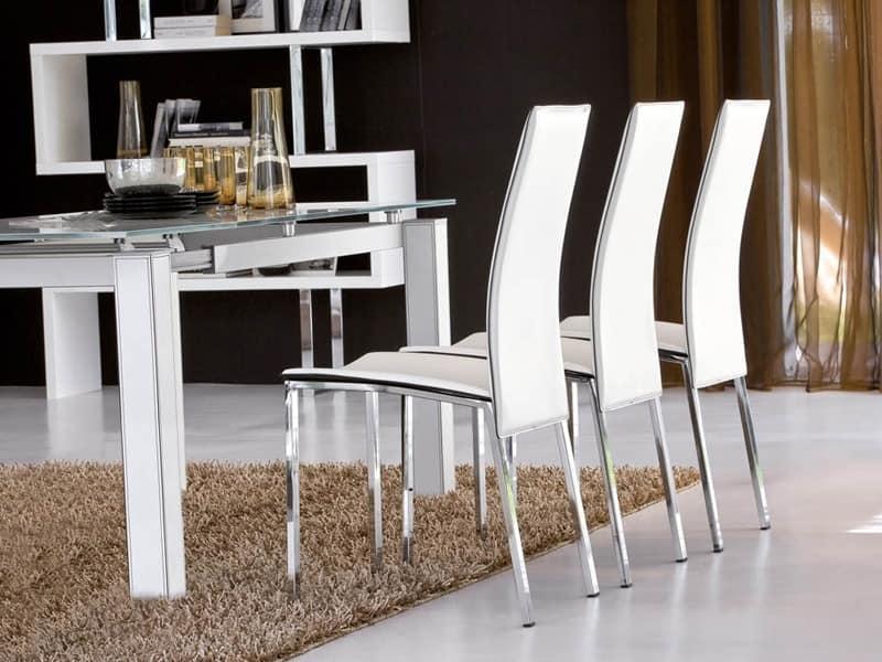 VITTORIA, Stuhl aus Leder mit hoher Rückenlehne bedeckt