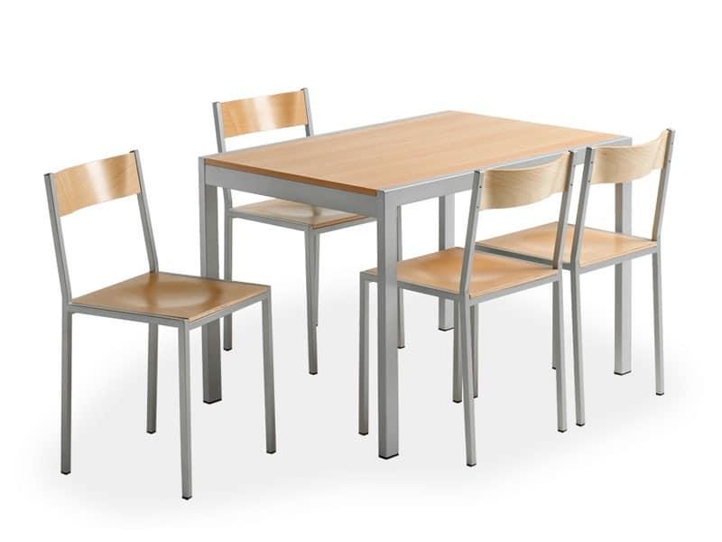 Do chair, Metallstuhl mit Holzsitz, für Kantine