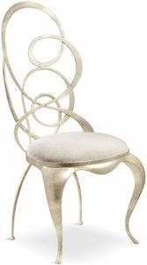 Ghirigori Stuhl, Esszimmerstuhl mit geformter Eisenrückenlehne