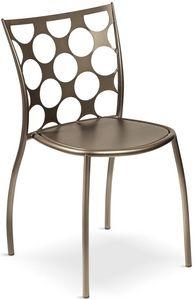 Julie cerchi, Metallstuhl, Rückenlehne mit kreisförmigen Löchern