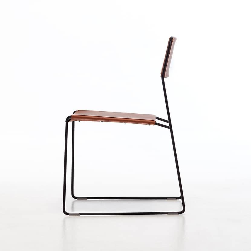 metallstühle, sitz und rückenlehne aus recyceltem leder, für die, Gartenarbeit ideen