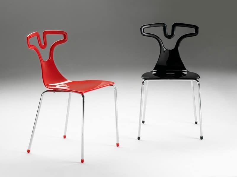 T-shirt chair, Stapelstuhl aus Kunststoff, Rahmen aus verchromtem Stahl