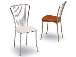 530, Stuhl aus Metall, zurück mit vertikalen Motiv, Eisdiele