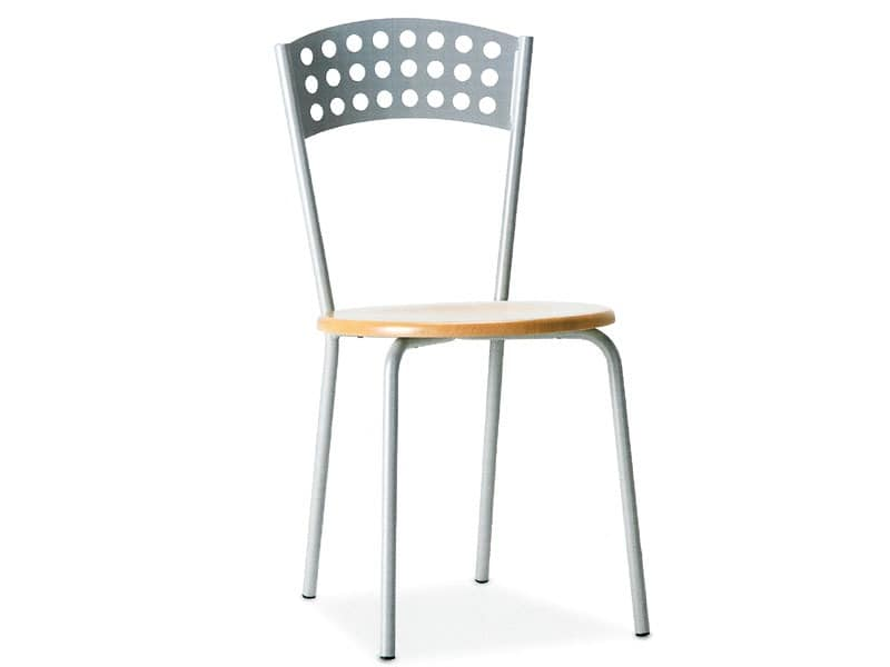 CINDY, Metallstuhl mit Holzsitz