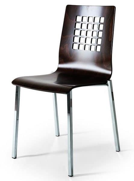 stuhl mit metallgestell schale in buche mit r cken perforiert idfdesign. Black Bedroom Furniture Sets. Home Design Ideas