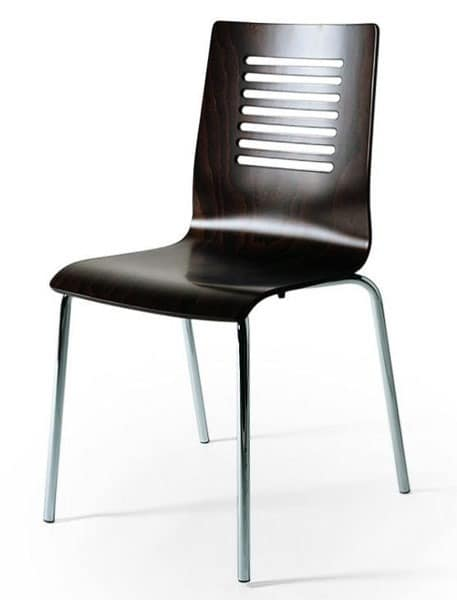 Stuhl aus metall sitz aus buche r cken perforiert for Stuhl holzschale