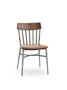 1629, Vintager Stuhl aus Holz und Stahl, mit konischen Beinen