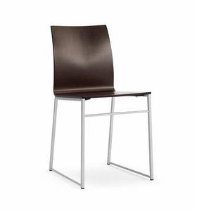 MELISSA A15 Wood, Stuhl aus Metall und lackiertem Holz, für Warteräume