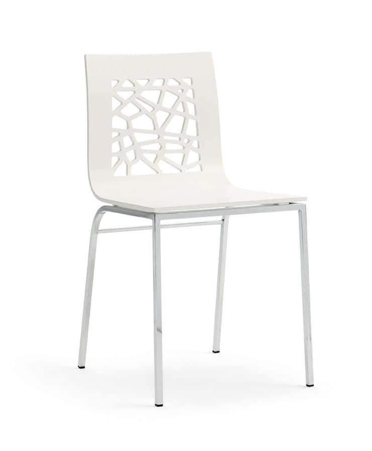 SANTAFE', Stuhl aus lackiertem Holz und Metall, für Restaurants