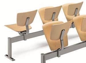VEKTA A111, Stuhl auf dem Balken aus Metall und Buchensperrholz