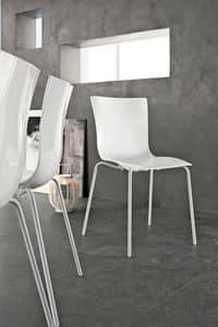 ARIA EASY, Moderne Stapelstuhl, in Metall-Kunststoff, für Küche und Bar