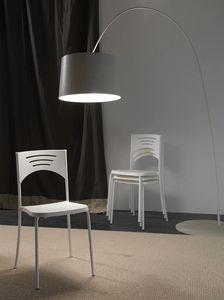 Art. 041 Break, Leichte Stuhl aus Metall und Polypropylen, stapelbar