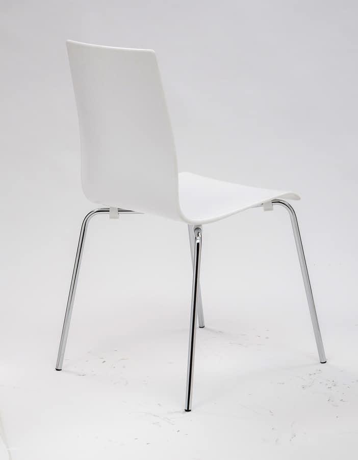 Weiss Polypropylen Stuhl Aus Verchromtem Metall Beine Idfdesign