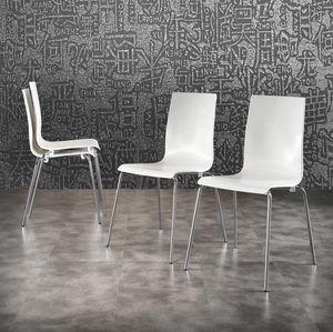 Art. 044 Kris, Weiß Polypropylen Stuhl aus verchromtem Metall Beine