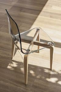 BERLINO SE506, Stuhl mit Holzrahmen, Polycarbonat-Sitz, moderner Stil
