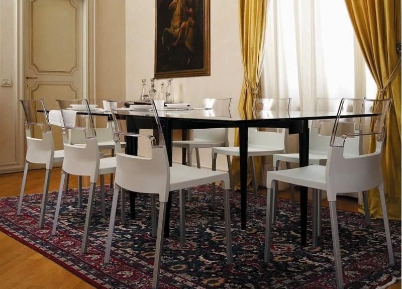 Diva chair, Stuhl aus transparentem Polycarbonat, mehrfarbig