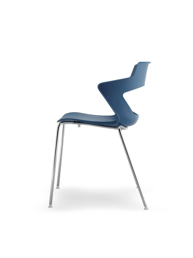 UF 168, Stapelbarer Stuhl aus Metall und PVC, mit perforierten zurück