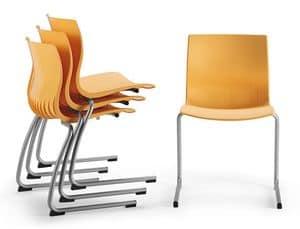 WEBBY 336, Stuhl mit Schlitten umgeworfen Basis, Shell Nylon
